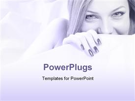 PowerPoint template displaying beautiful smiling girl ducks behind white wall