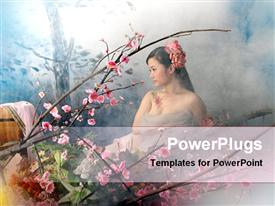 PowerPoint template displaying a chinese girl with flowers and smoke in the background