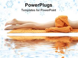 PowerPoint template displaying long legs of relaxed lady with orange towel on white sand in the background.