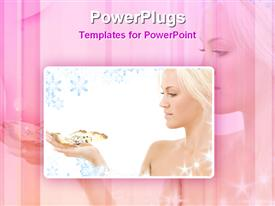 PowerPoint template displaying lovely blonde with butterfly