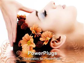 PowerPoint template displaying masseuse does relax facial massage to the girl. with reflection on water