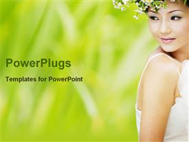 PowerPoint template displaying beautiful Asian woman in white dress with flower crown, bride, beauty, fashion, wedding