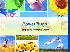 PowerPoint template displaying collage of nature and happy people depictions, colorful flowers, sunflowers, happy women on field, drop of water on leaf