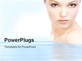 PowerPoint template displaying pretty young woman In Clear Blue Water