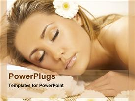 PowerPoint template displaying a lady sleeping peacefully with flower in her hair