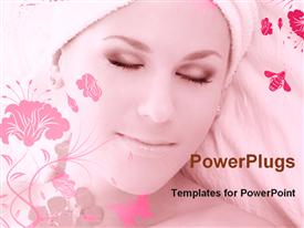 PowerPoint template displaying a beautiful girl with floral background