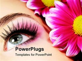 PowerPoint template displaying close up of eye with makeup, pink flowers, eyelashes, mascara, cosmetics, beauty, spa, salon