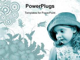 PowerPoint template displaying beautiful young with straight face and hat on with abstract floral background