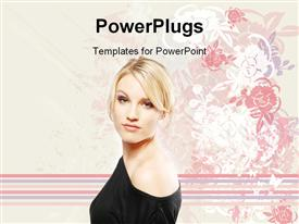 PowerPoint template displaying sexy girl posing for fashion depiction in the background.