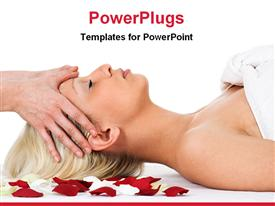 PowerPoint template displaying lady having a spa massage on red and white rose petals