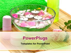 PowerPoint template displaying wet lipstick white background with flowers pink