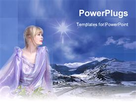 PowerPoint template displaying beautiful fair lady with flowers and a hilly landscape