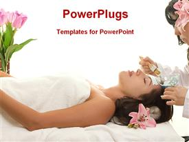 PowerPoint template displaying woman relaxing at spa, enjoying beauty treatment, facial treatment, pink tulips and orchid