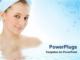 PowerPoint template displaying pretty smiling female with a towel wrapped round her head
