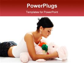 PowerPoint template displaying young beauty girl with pink rabbit in the background.