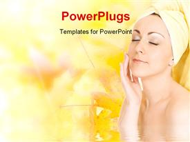 PowerPoint template displaying young woman getting ready for the spa treatment on autumn background