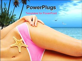PowerPoint template displaying a beautiful girl in a bikini with sea in the background