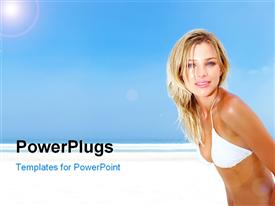 PowerPoint template displaying a beautiful girl on the beach with bluish background