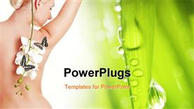 PowerPoint template displaying a beautiful naked girl with greenish background