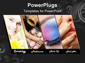 PowerPoint template displaying four tiles with different make up procedures and a smiling face