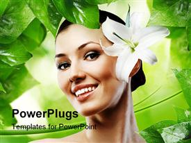 PowerPoint template displaying smiling beautiful woman with white flower in green background