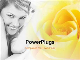 PowerPoint template displaying beautiful lady with terrific smile with yellow colored flower