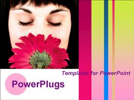 PowerPoint template displaying woman with flower. Colorful vertical lines