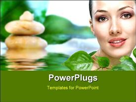PowerPoint template displaying beauty girl on the blur background