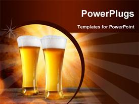 PowerPoint template displaying beer in a glass with gold background