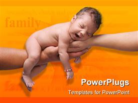 PowerPoint template displaying newborn baby yawning and being held by both parents hands