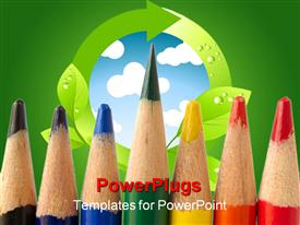 PowerPoint template displaying a number of color pencils with a globe in the background