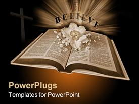 PowerPoint template displaying open Holy Bible with a daffodil in sepia mode