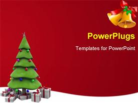 PowerPoint template displaying christmas tree with red and white gifts