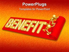 PowerPoint template displaying two gold figures rolling out red benefit carpet