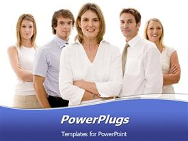 PowerPoint template displaying business woman heads up a business team of professionals in the background.