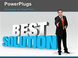 PowerPoint template displaying the words Best Solution