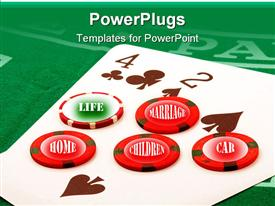 PowerPoint template displaying make your bet and lose everything family house life