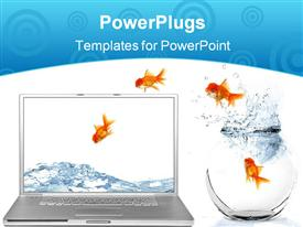 PowerPoint template displaying goldfish Escaping Their World Jumping Out of Their Aquarium Into a Virtual World