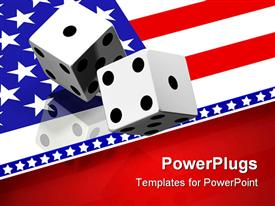PowerPoint template displaying two white gaming dice tossed above a reflective United States flag