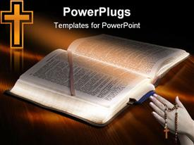 PowerPoint template displaying bible book opened on a wooden table