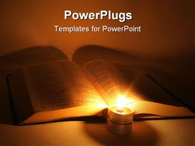 PowerPoint template displaying book lit up by candle reading white background
