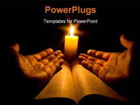 PowerPoint template displaying a pair of open hands on a bible with a bright candle