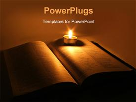 PowerPoint template displaying a book with a candle and its light in the background
