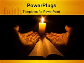 PowerPoint template displaying lit candle behind two hands open on holy book