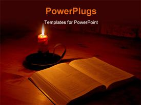 PowerPoint template displaying the bible and a candle with its light surrounding the bible