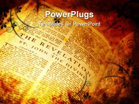 PowerPoint template displaying bible showing The Revelation in distressed vintage style in the background.