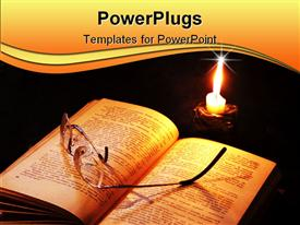 PowerPoint template displaying book and candle