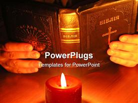 PowerPoint template displaying on a depiction a candle which on the Bible. A depiction on a dark background of a table
