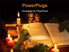 PowerPoint template displaying lit red and white candles around an open bible
