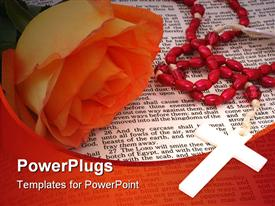 Orange Rose With Rosary on open Bible powerpoint template